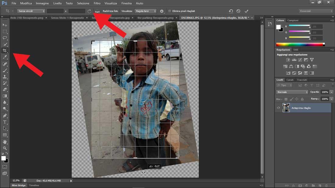 Photoshop raddrizzamento e frecce